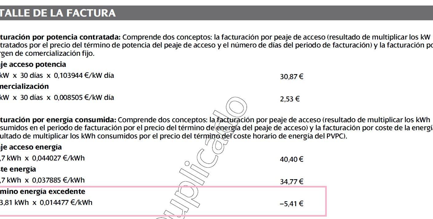 COMPARATIVA FACTURA ELÉCTRICA CON Y SIN AUTOCONSUMO SOLAR MES DE ABRIL.